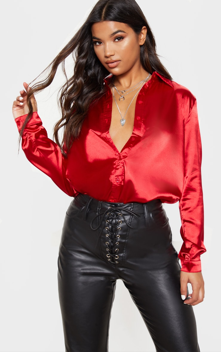 Red Satin Button Front Shirt 1