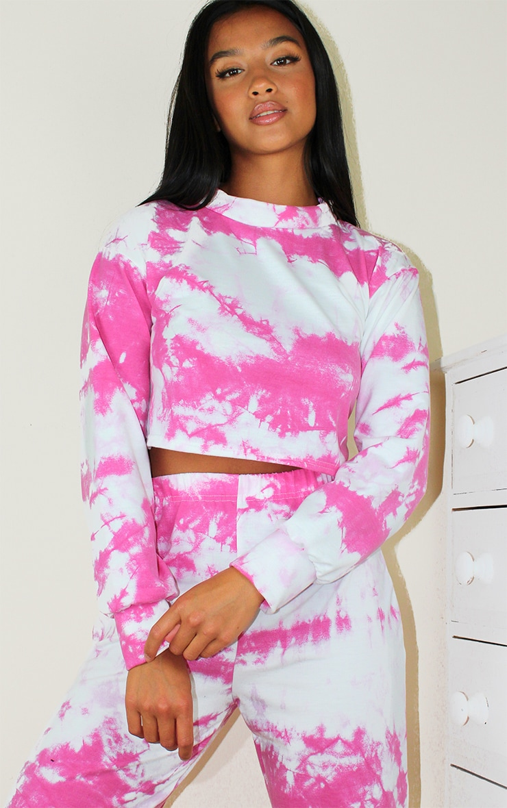 Petite Pink Tie Dye Cropped Sweat and Jogger Set 3