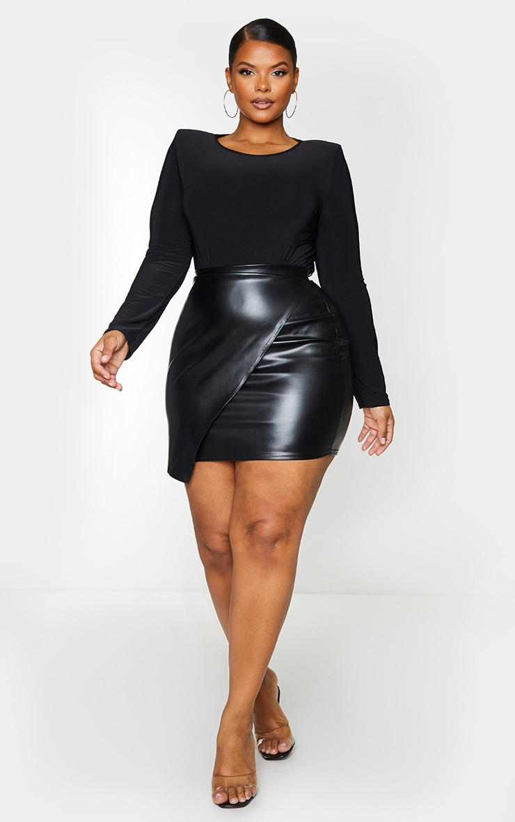 Plus Luisa Black Faux Leather Wrap Mini Skirt 1