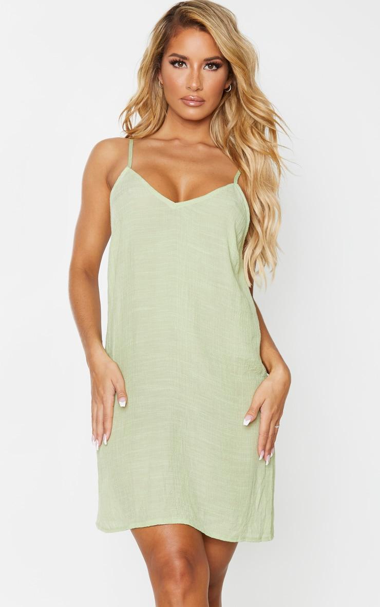 Sage Green Linen Look Strappy Cami Beach Dress 1