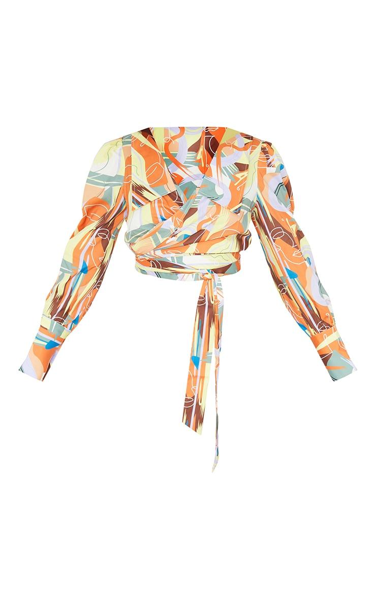 Multi  Abstract Face Print Satin Wrap Waist Long Sleeve Shirt 5