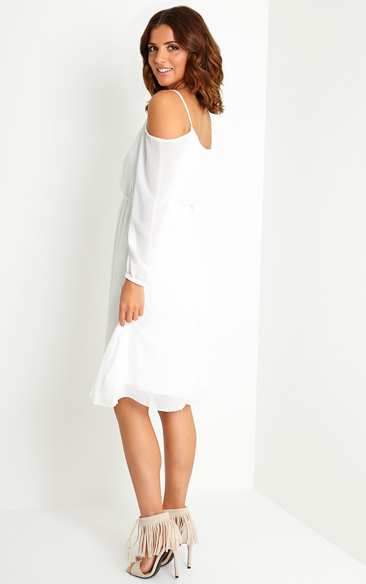 Jena Cream Cold Shoulder Chiffon Dress 4