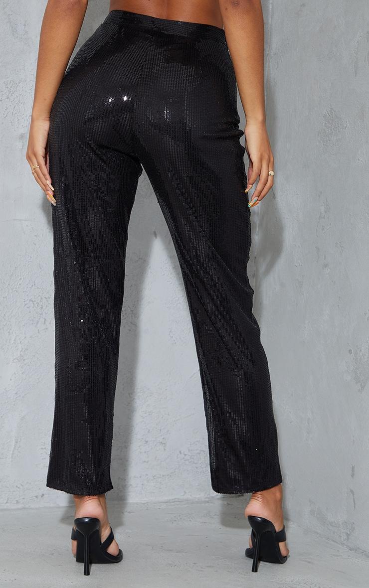 Black Sequin High Waisted Straight Leg Pants 3