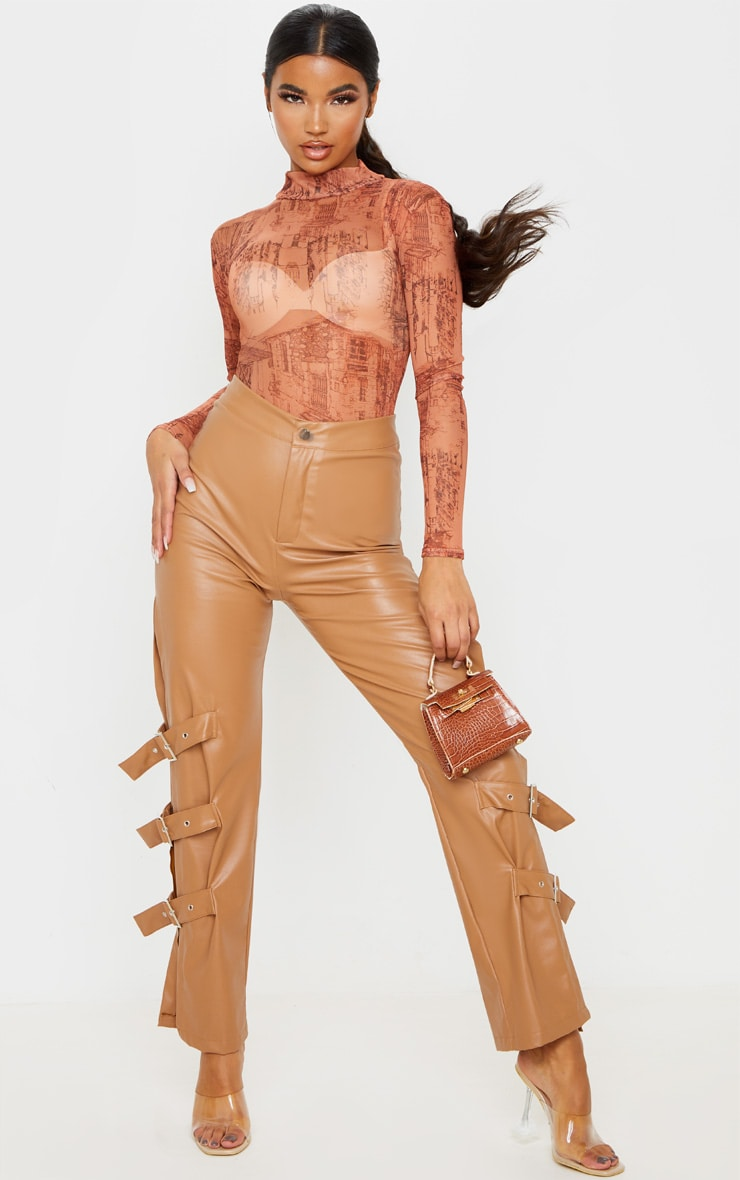 Rust Sketch Printed Mesh High Neck Long Sleeve Bodysuit 5