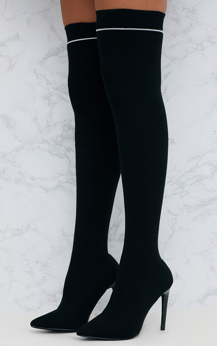 Black Sports Stripe Thigh High Sock Boot 2