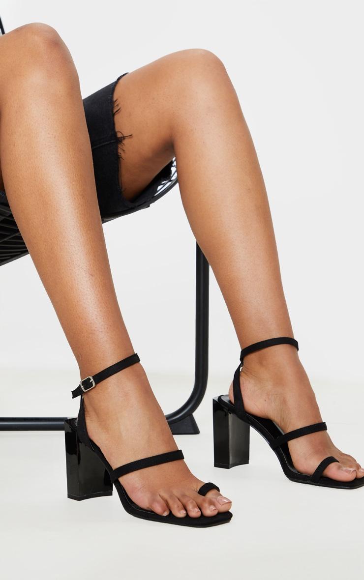 Black Toe Loop Chunky Block Heel Sandal 1