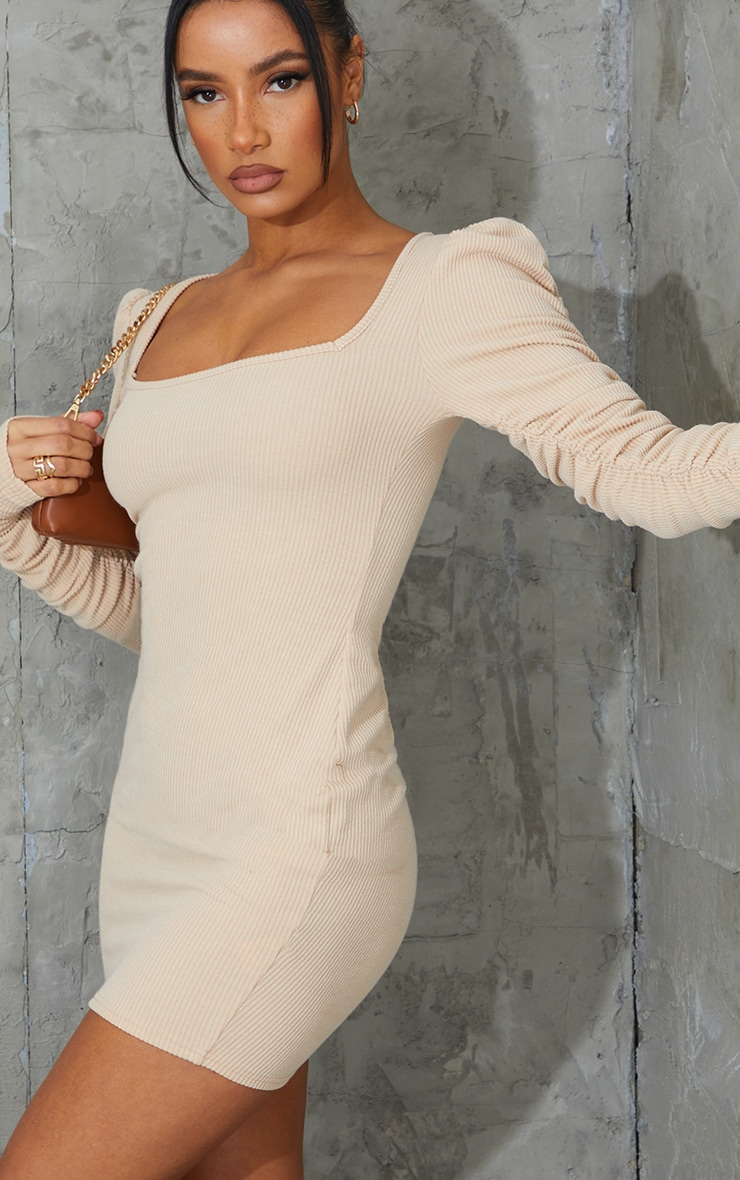 Nude Crinkle Rib Ruched Sleeve Square Neck Bodycon Dress 4