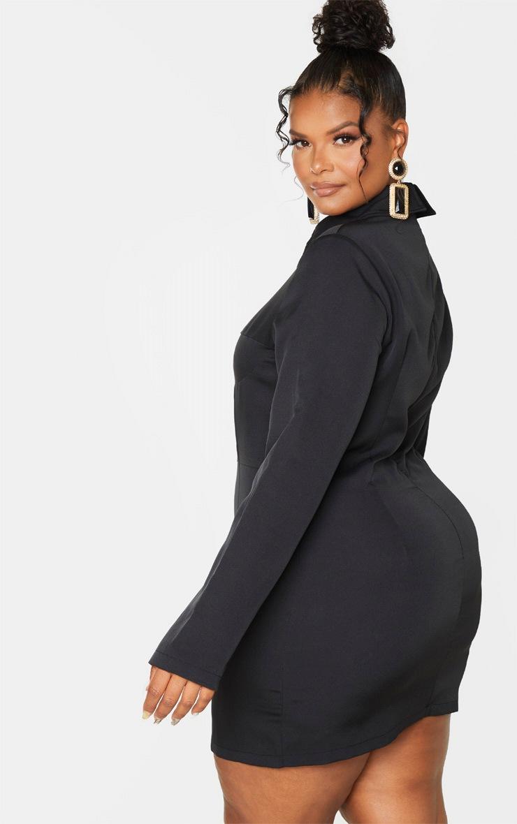 Plus Black Corset Detail Shirt Dress 2