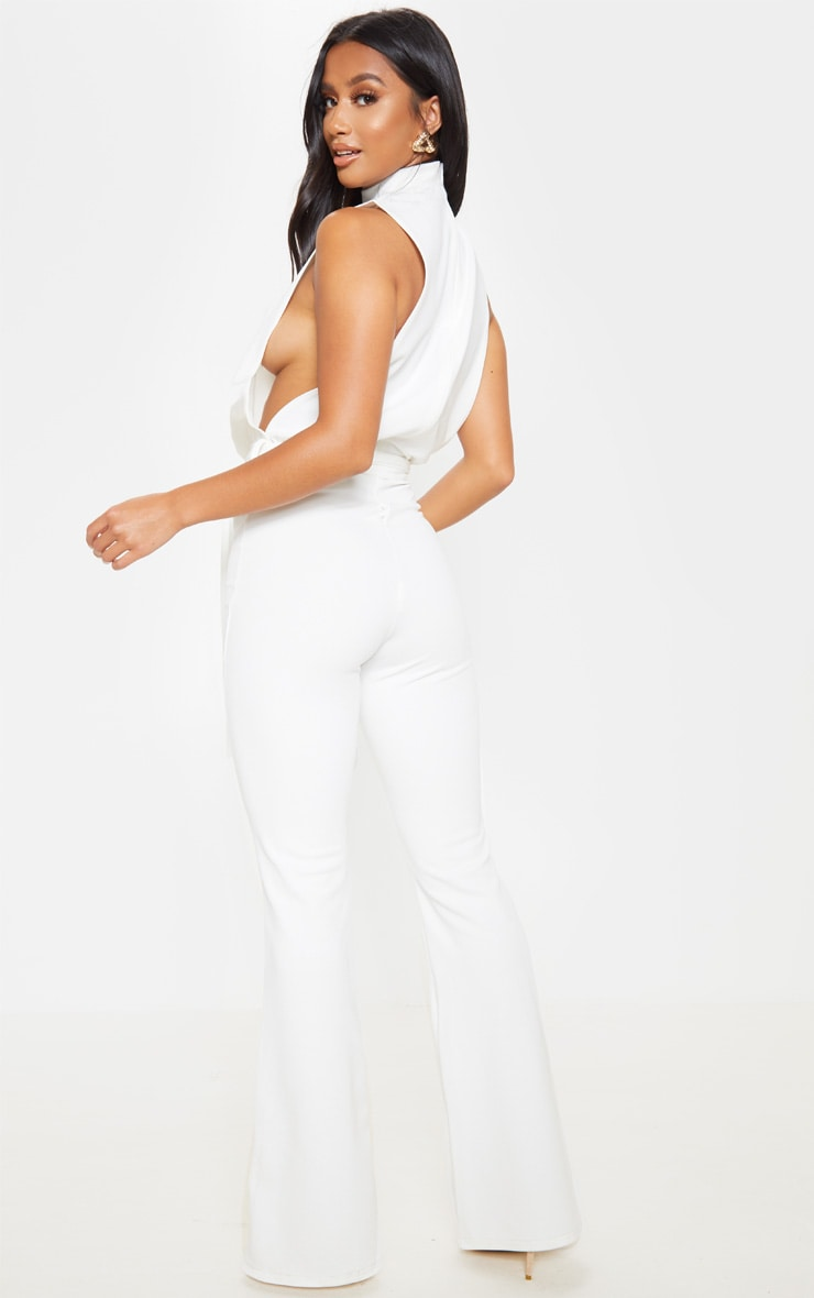Petite White Scuba High Neck Tie Waist Jumpsuit  2
