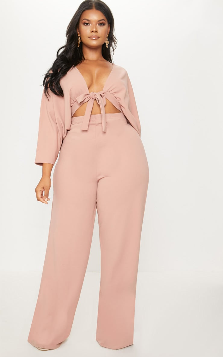 Plus Blush Crepe Batwing Cut Out Jumpsuit 1