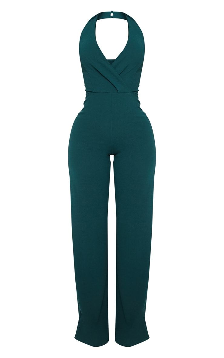 Shape Emerald Green Plunge Halterneck Jumpsuit 4