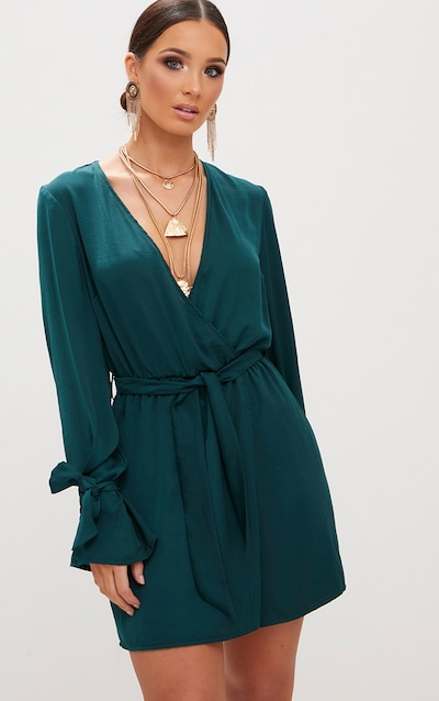 Emerald Green Satin Wrap Cuff Detail Shift Dress