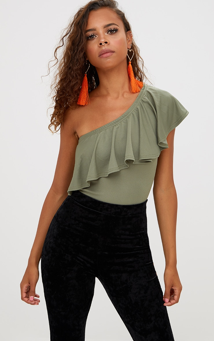 Petite Khaki One Shoulder Frill Bodysuit 2