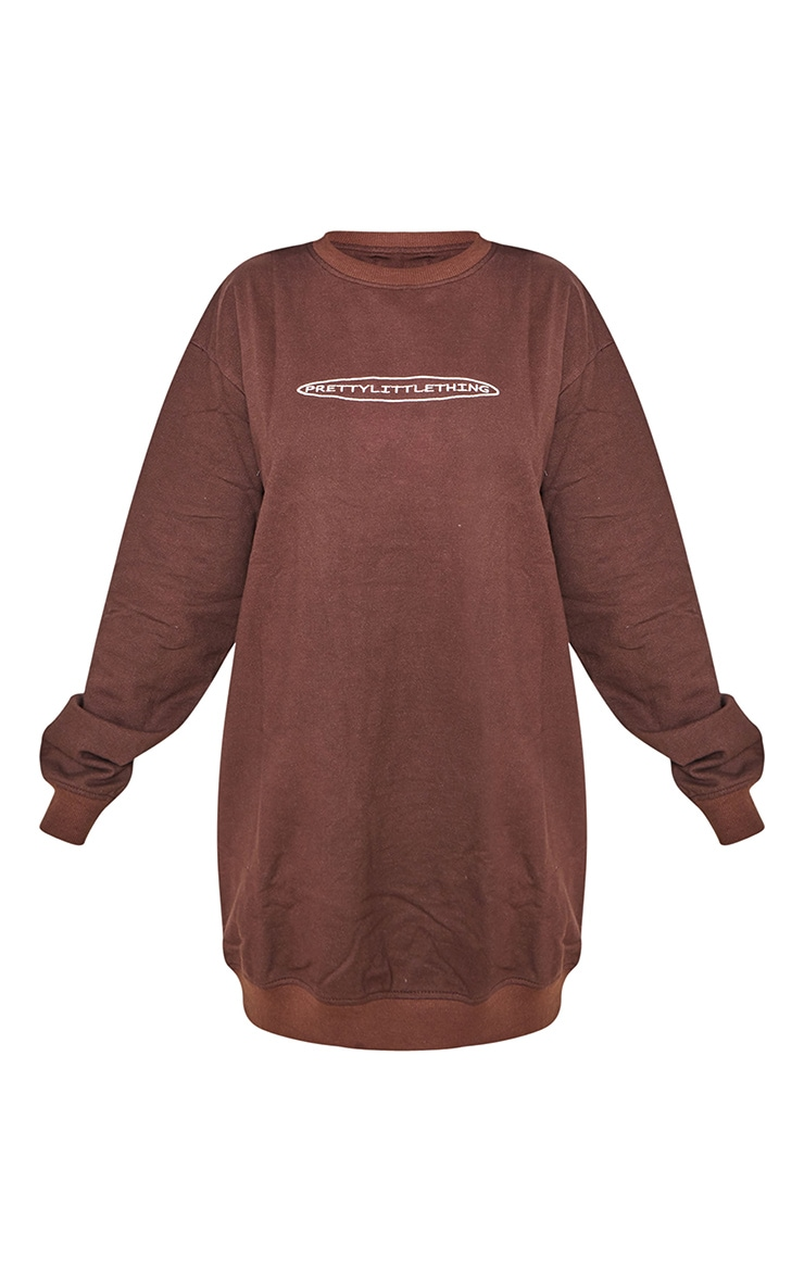 PRETTYLITTLETHING Chocolate Embroided Crew Neck Oversized Sweater Dress 5