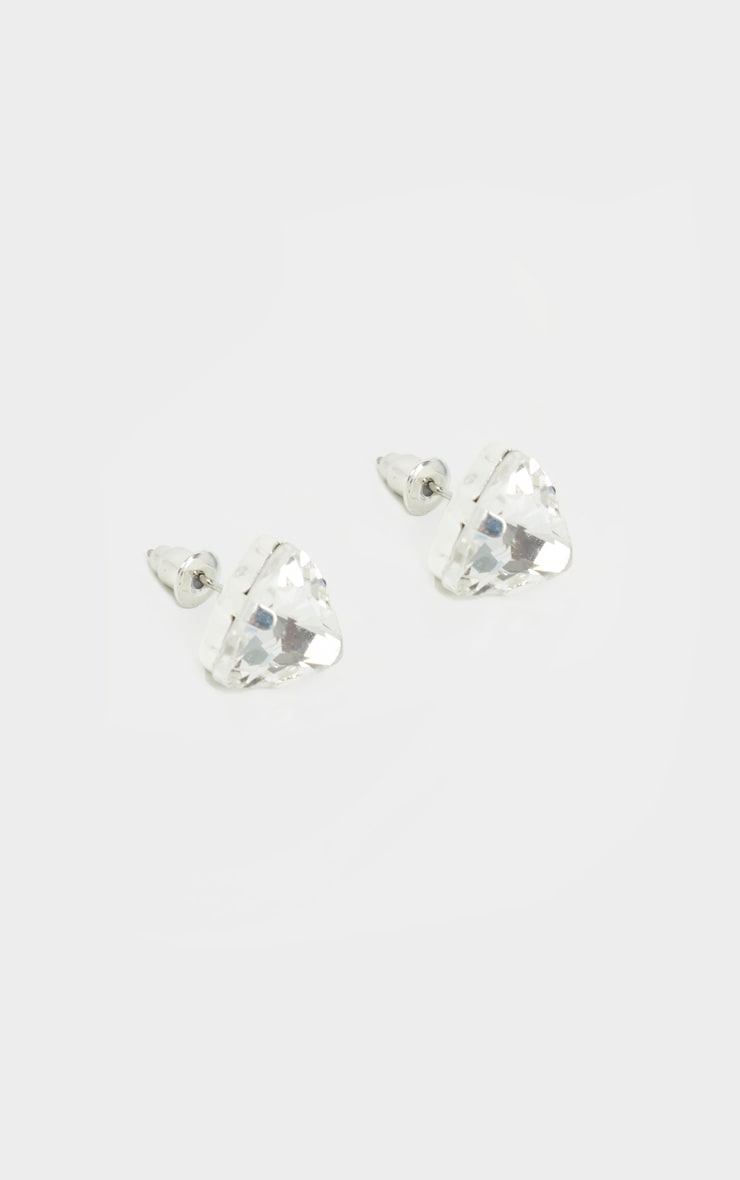 Silver Crystal Effect Stud Earrings 3