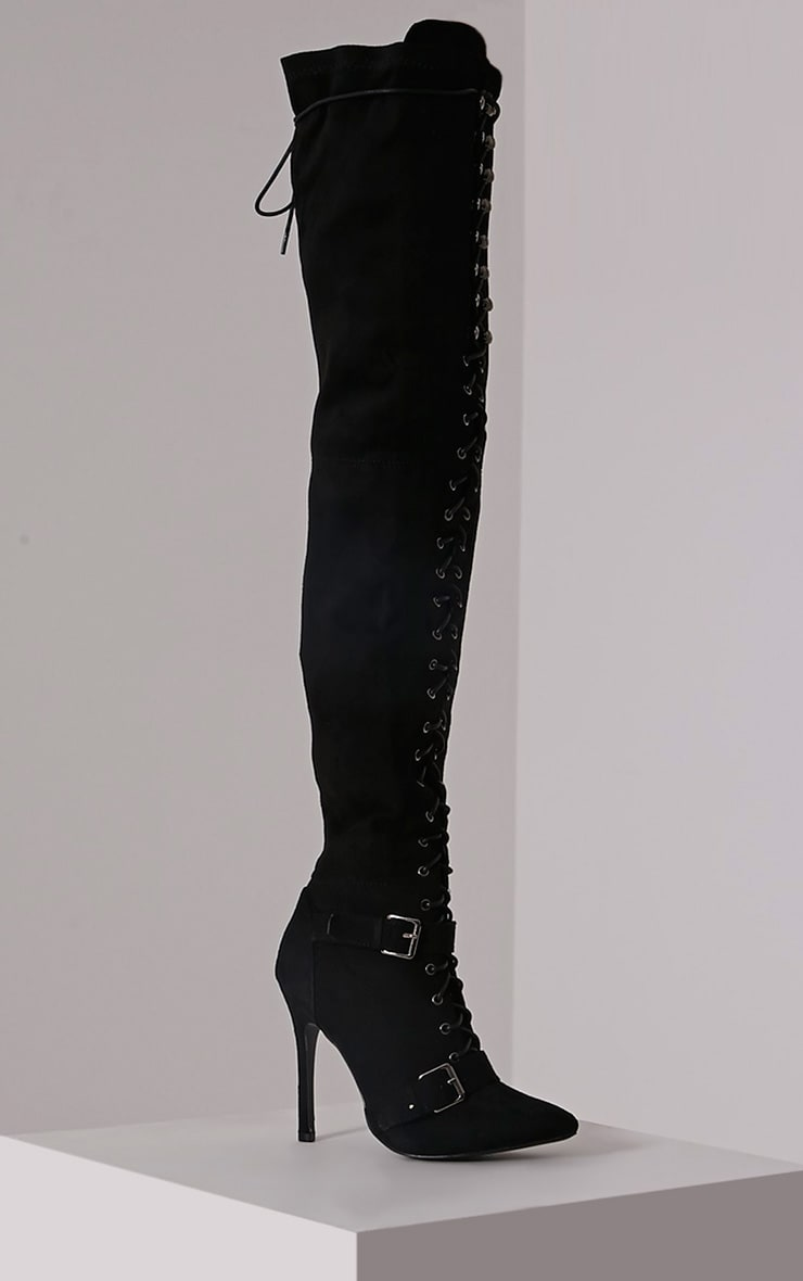 Sofey Black Faux Suede Lace Up Pointed Over The Knee Boots 3