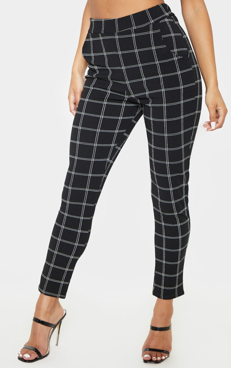 Black Tweed Check Skinny Pants 2