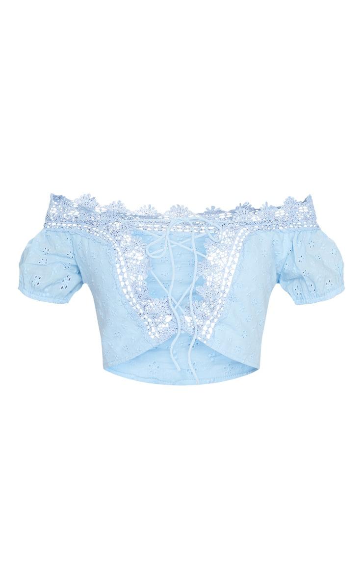 Light Blue Woven Frill Crochet Bardot Lace Up Crop Top 5