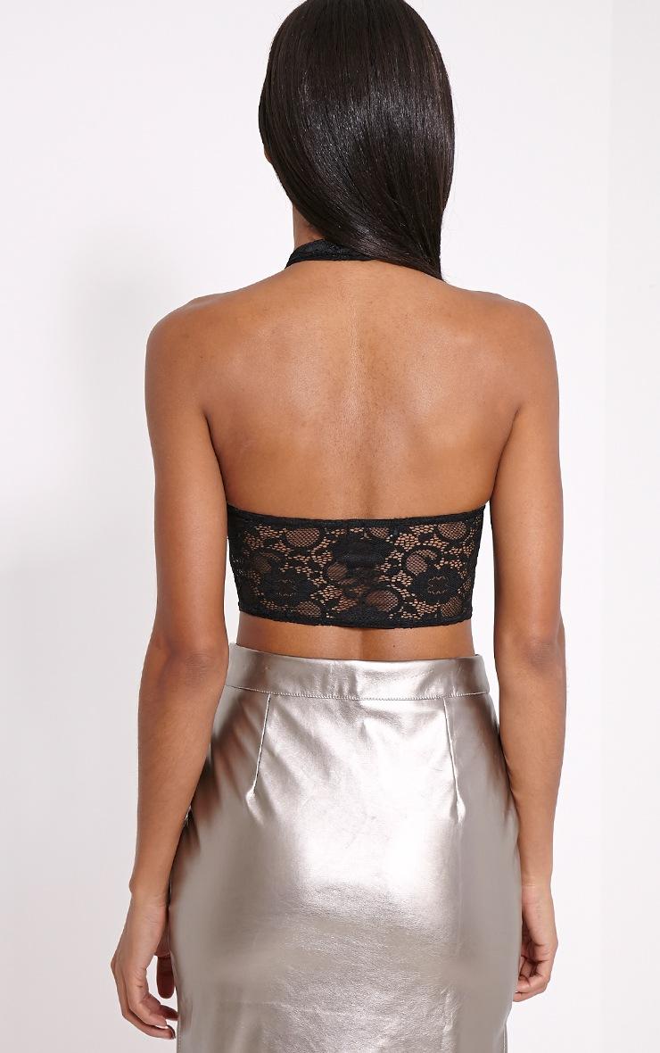 Liana Black Lace Halterneck Crop Top 2
