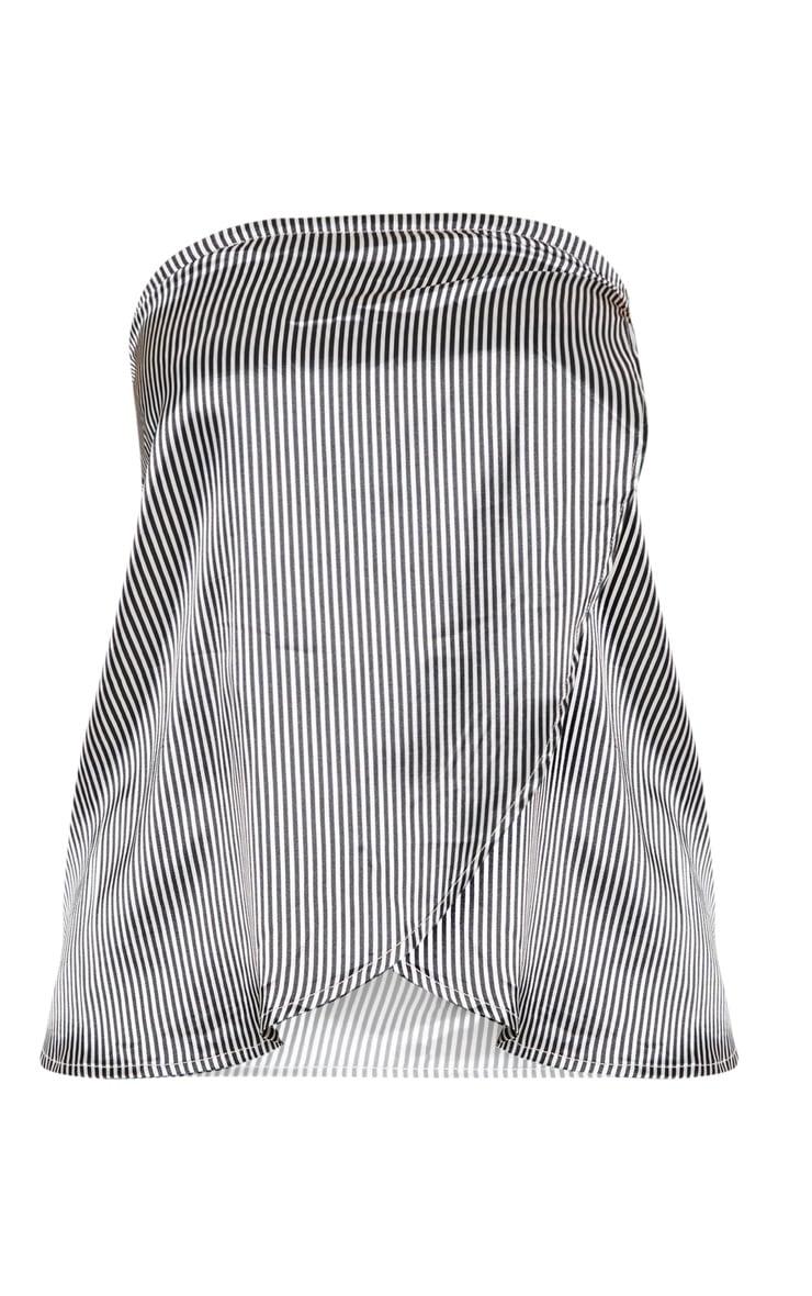 Petite Black  Striped Tie Detail Bandeau Top 3