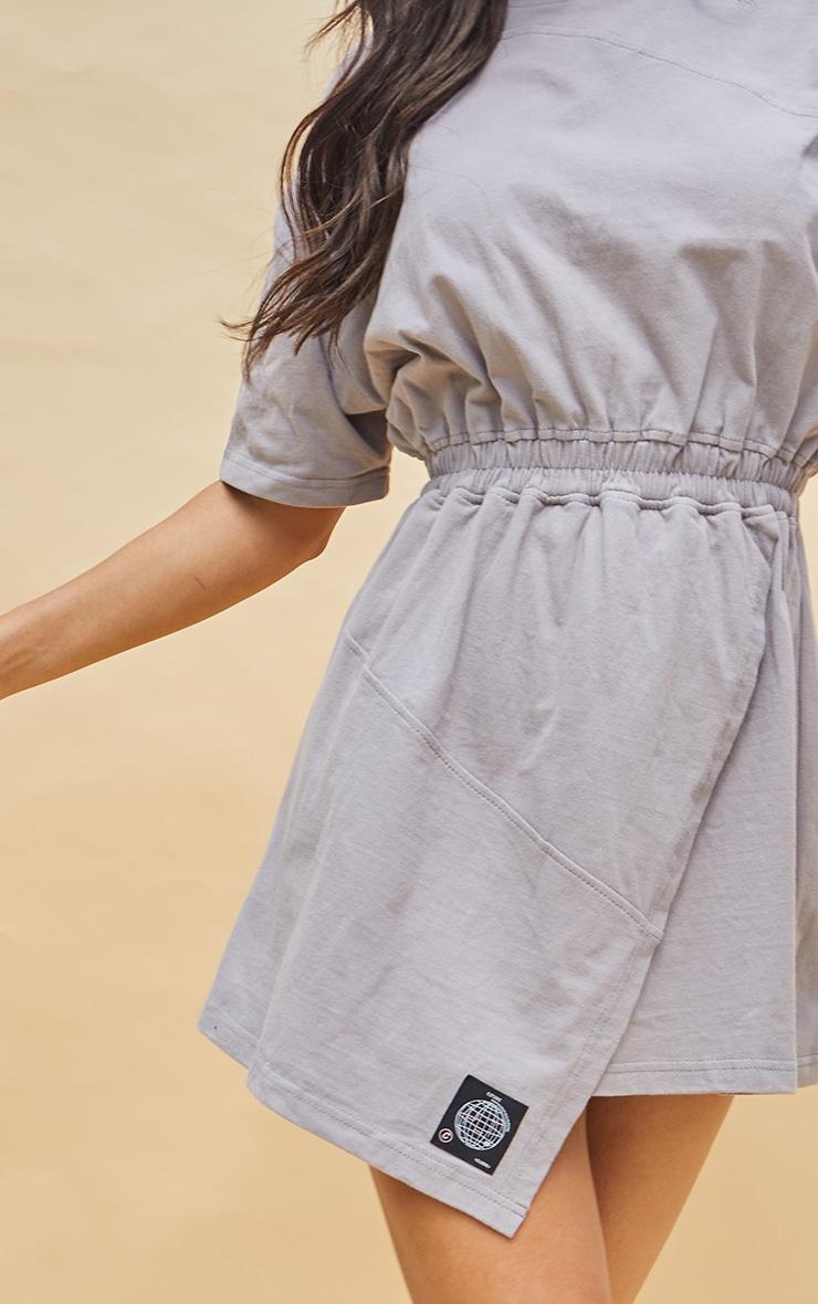 PRETTYLITTLETHING Charcoal Cotton Wrap Skirt T Shirt Dress 4