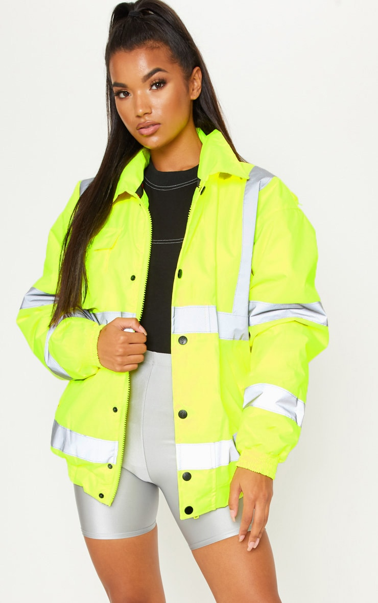 Neon Yellow High Vis Coat 1