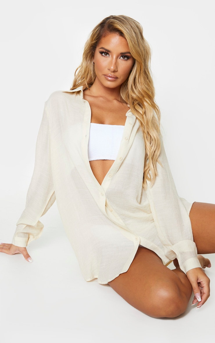 Stone Linen Look Oversized Beach Shirt 1