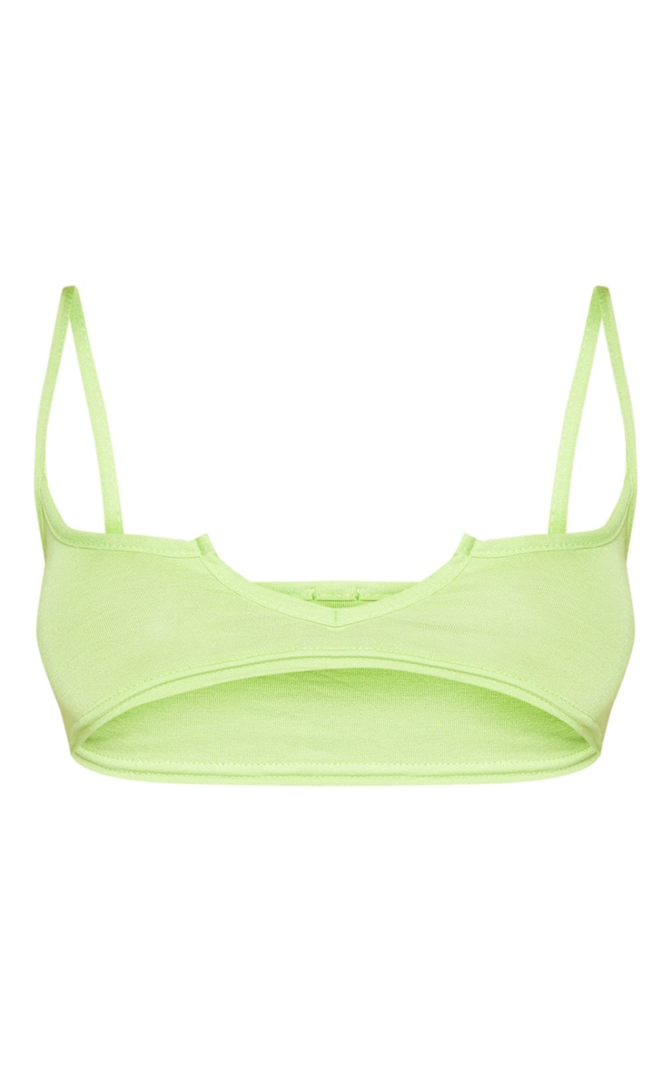 Lime Basic Jersey Cut Out Bralet 3