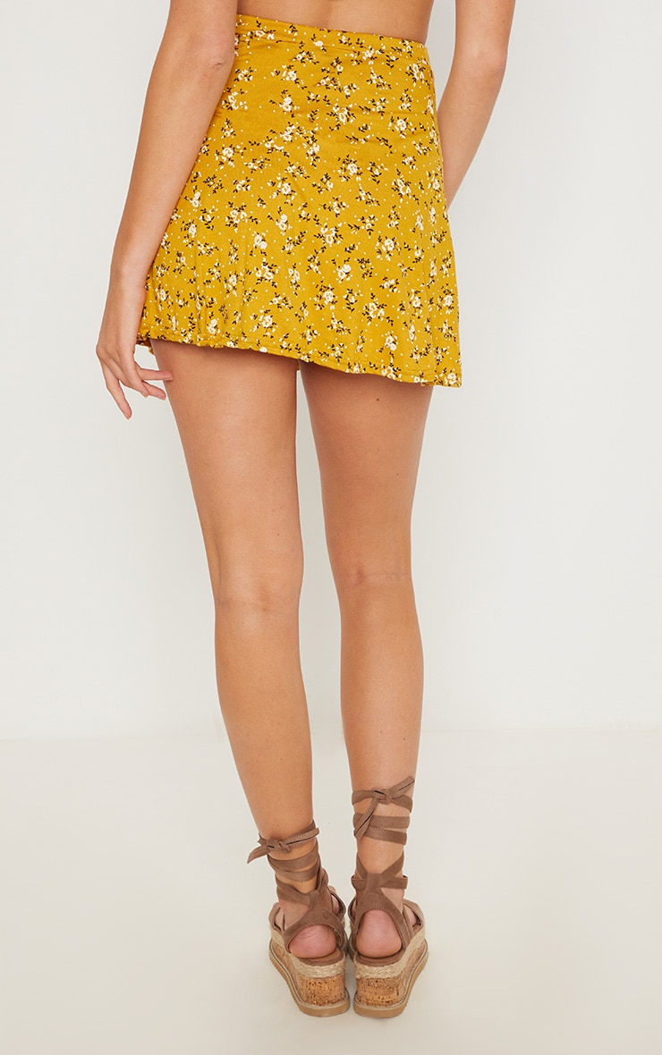 Mustard Ditsy Floral Skater Skirt 4