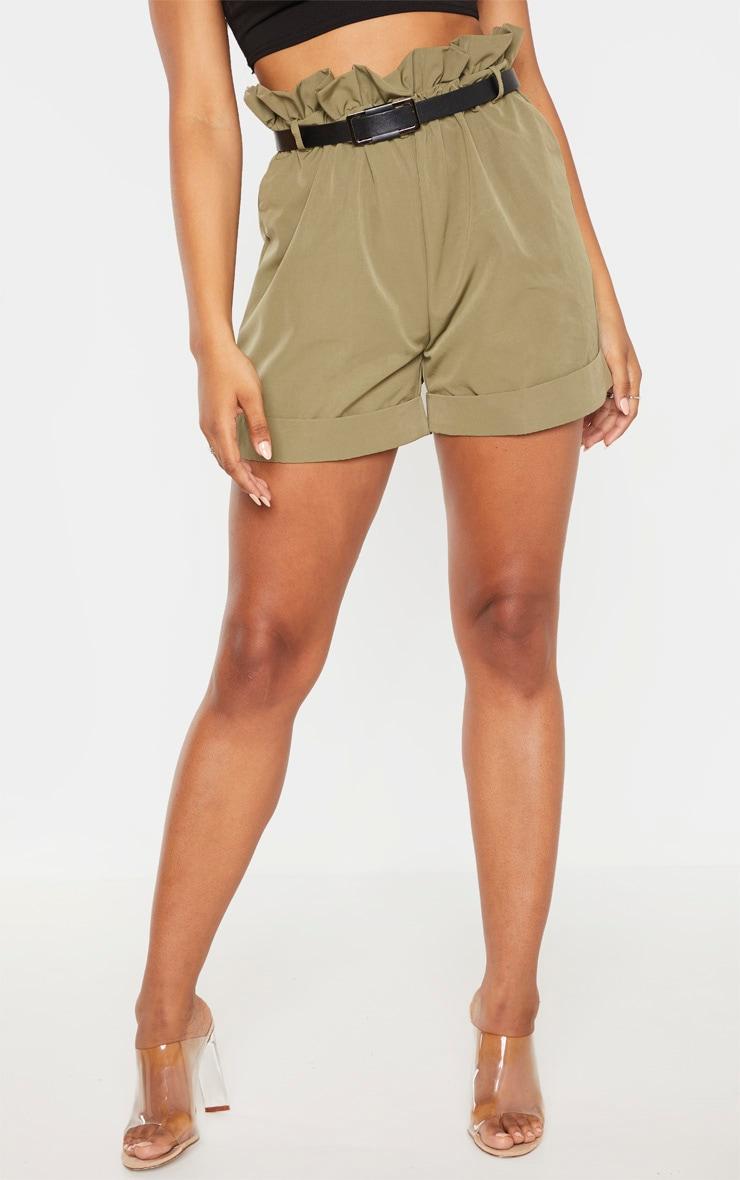 Tall Khaki High Waist Paperbag Belted Shorts 2