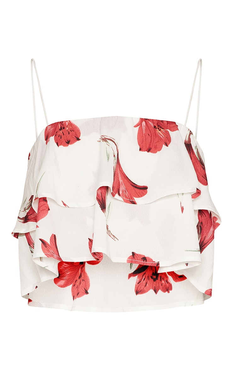 White Floral Satin Frill Print Cami Top 3