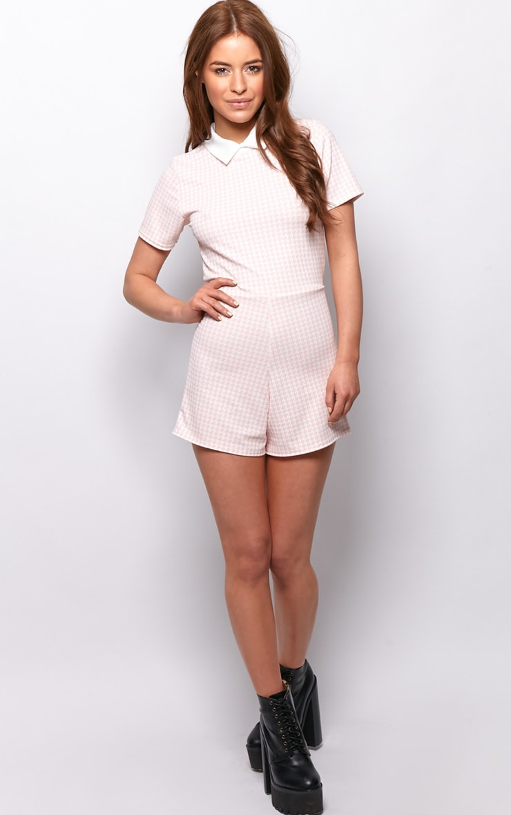 Sara Pink & White Dogtooth Playsuit 3