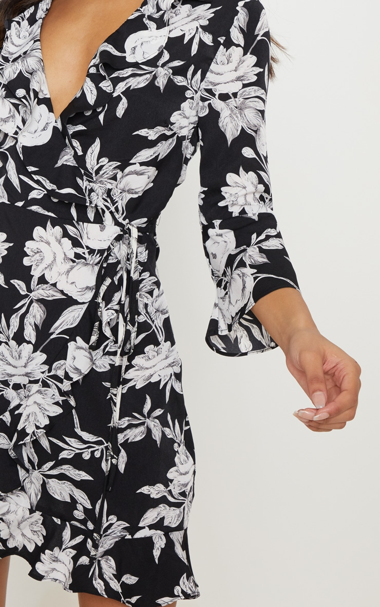 Monochrome Floral Print Long Sleeve Wrap Tea Dress 5
