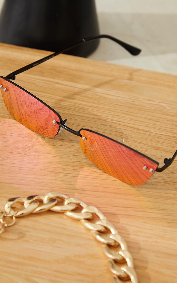 Pink Lens Revo Effect Small Square Rimless Sunglasses 2