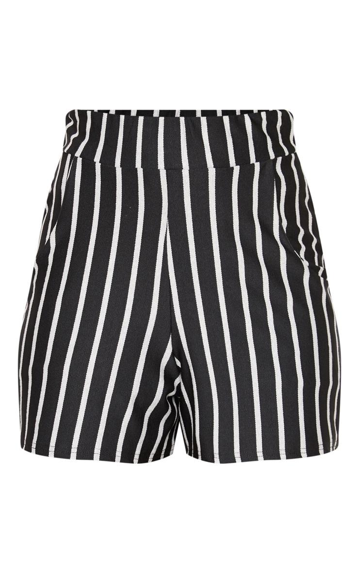 Short à pinces noir avec poches et rayures verticales  3
