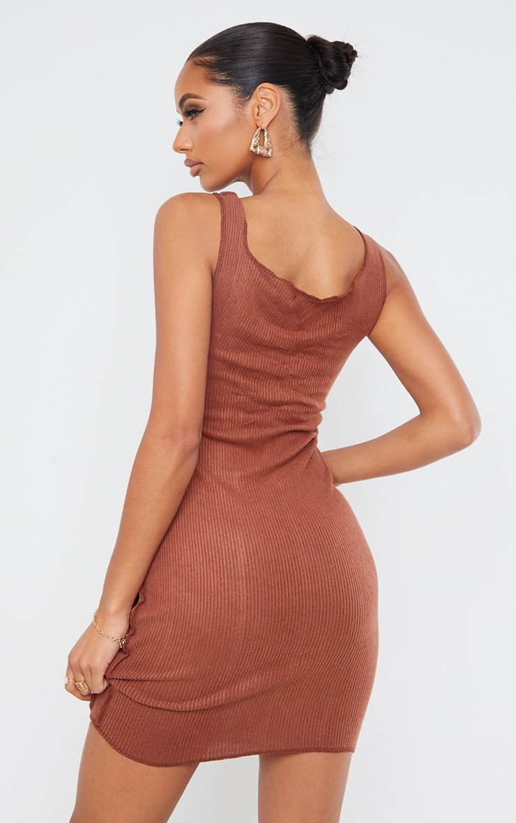 Chocolate Brushed Rib Overlock Stitch Sleeveless Bodycon Dress 2