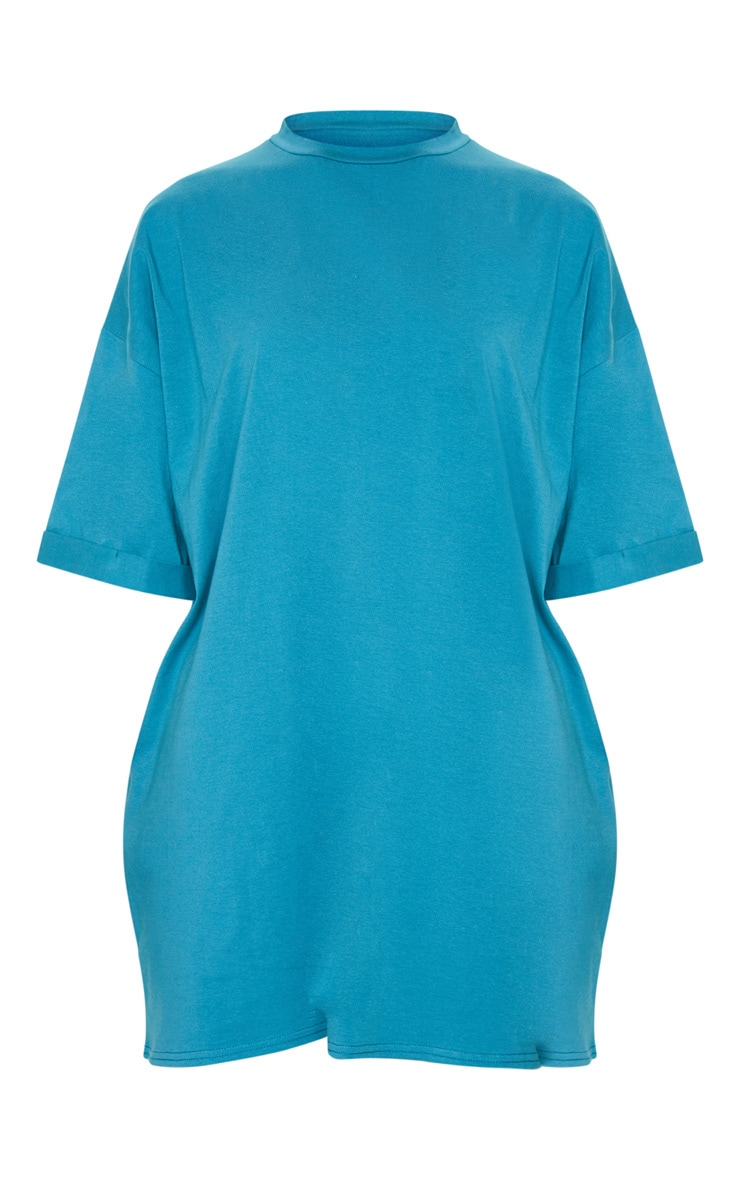 Teal Oversized Boyfriend T Shirt Dress 5