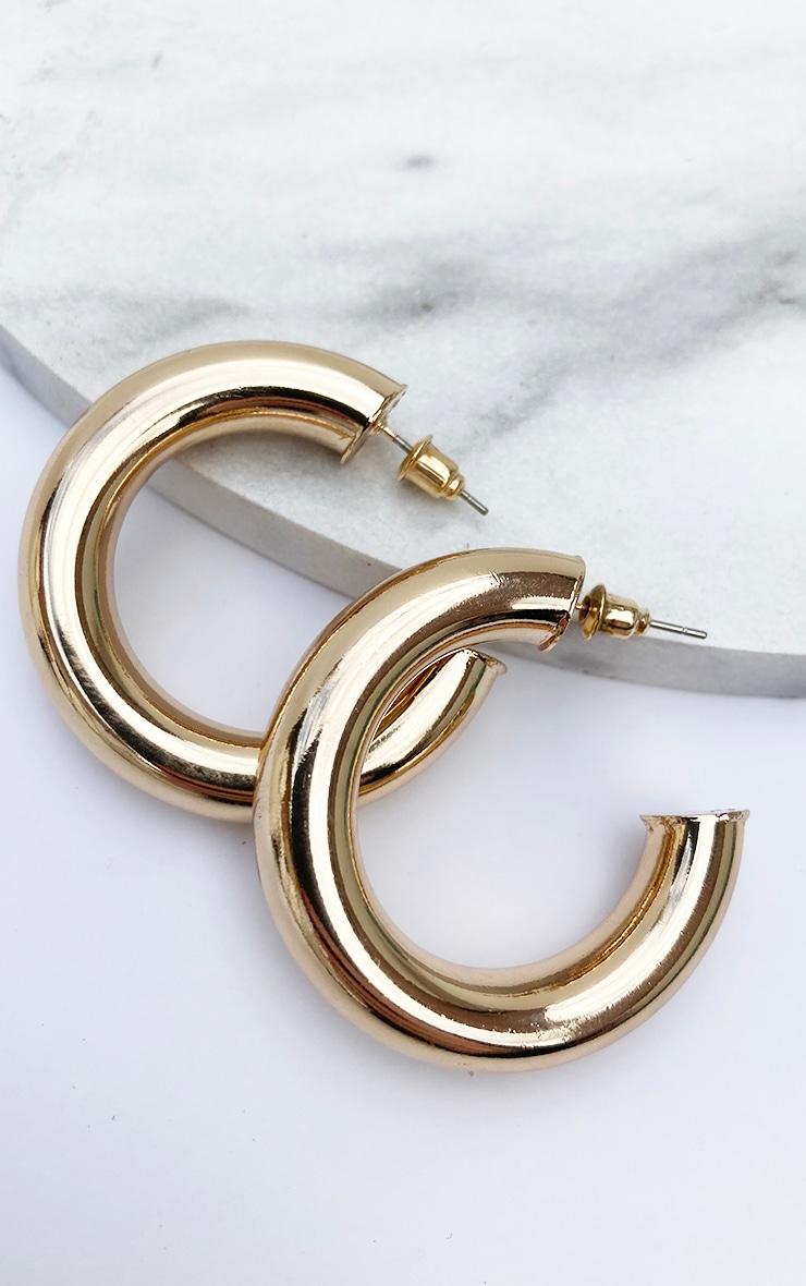 Gold Chunky Tubular Earrings 3