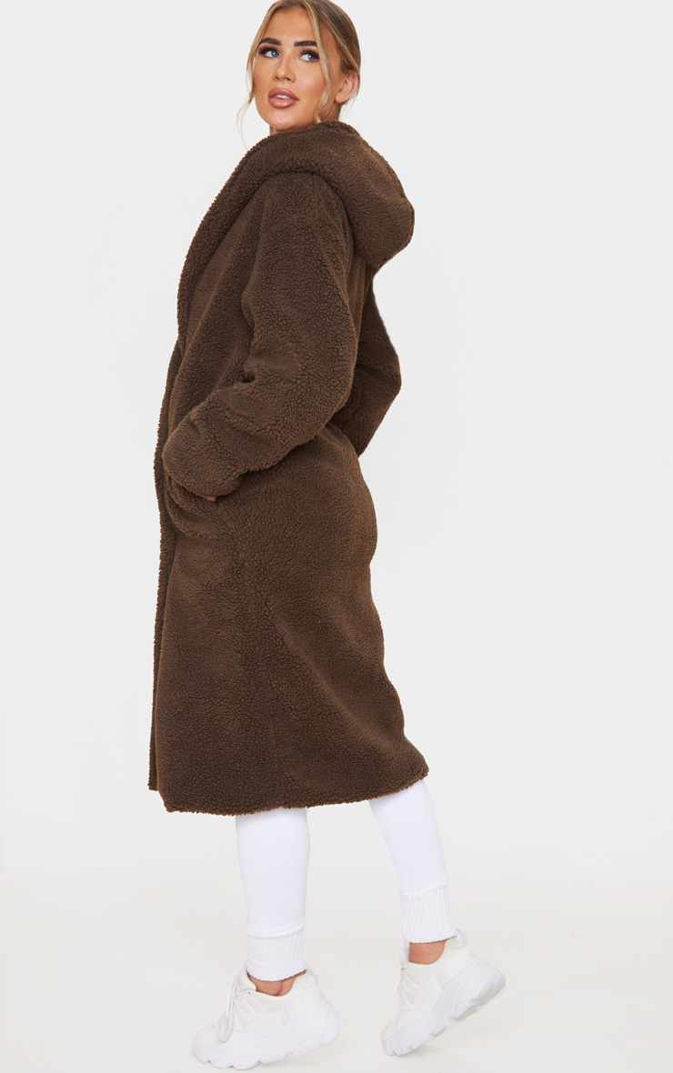 Chocolate Brown Borg Hooded Midi Coat 2