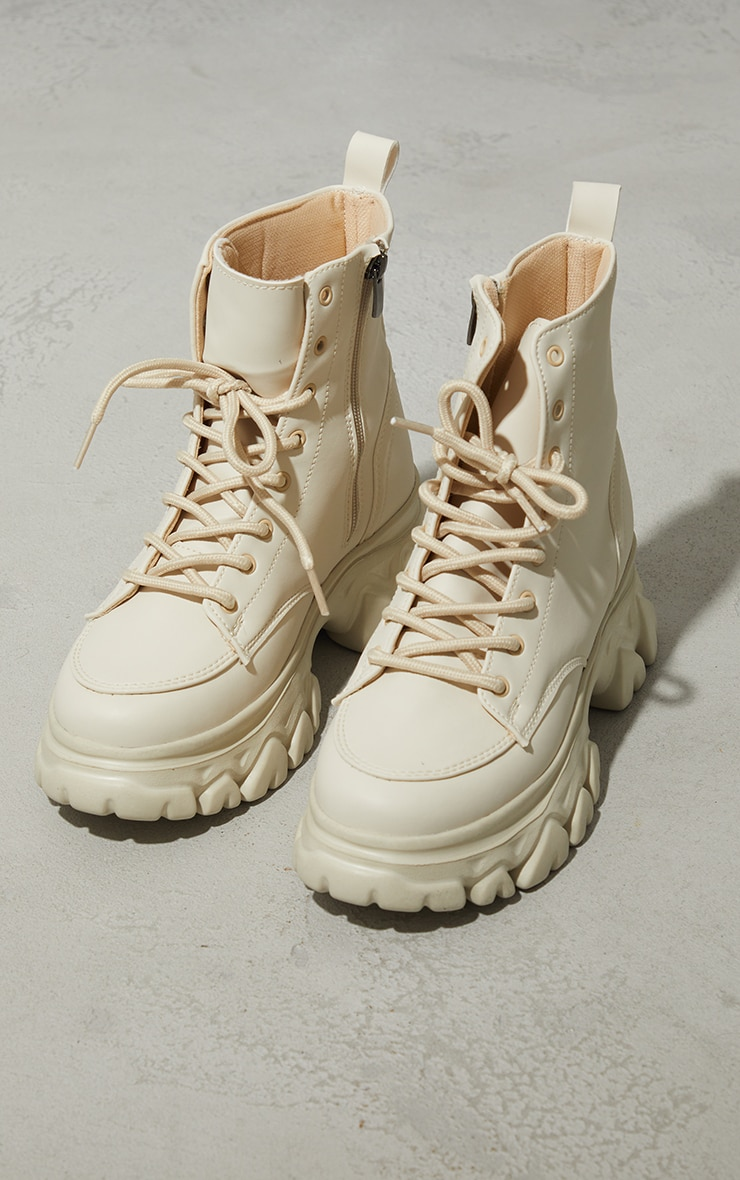 Sand PU Lace Up  Ankle Chunky Sole Hiker Trainers 3