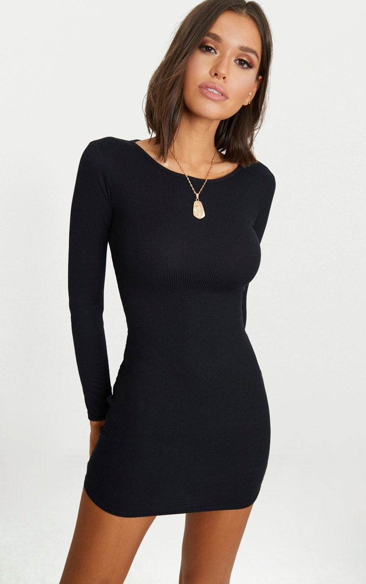 Basic Black Ribbed Long Sleeve Bodycon Dress 1