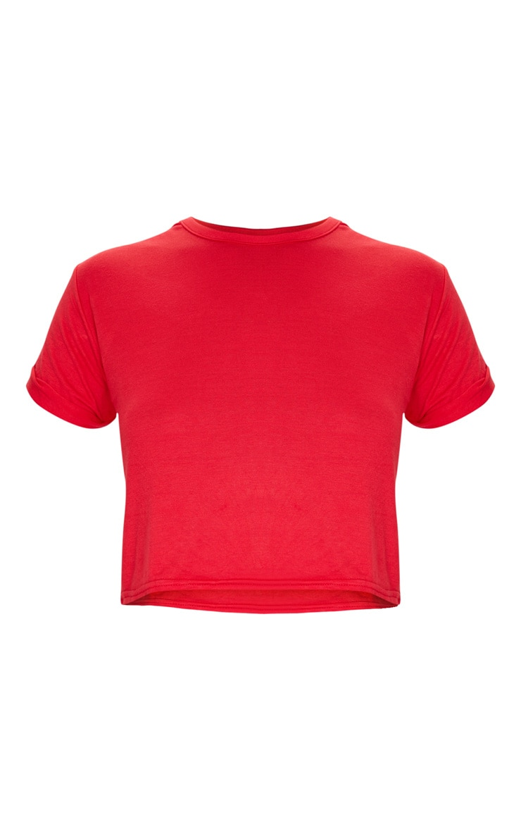 Basic Red Roll Sleeve Crop T Shirt 5