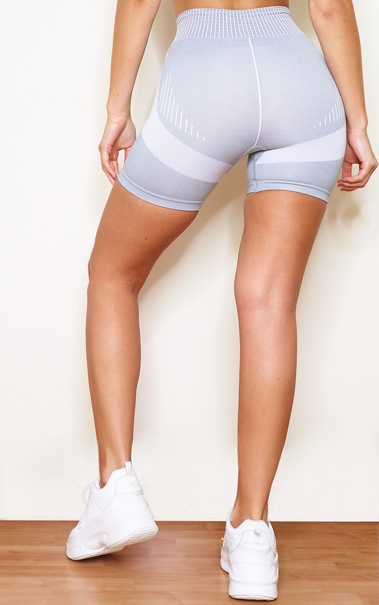 Grey Contrast Seamless Booty Shorts 3