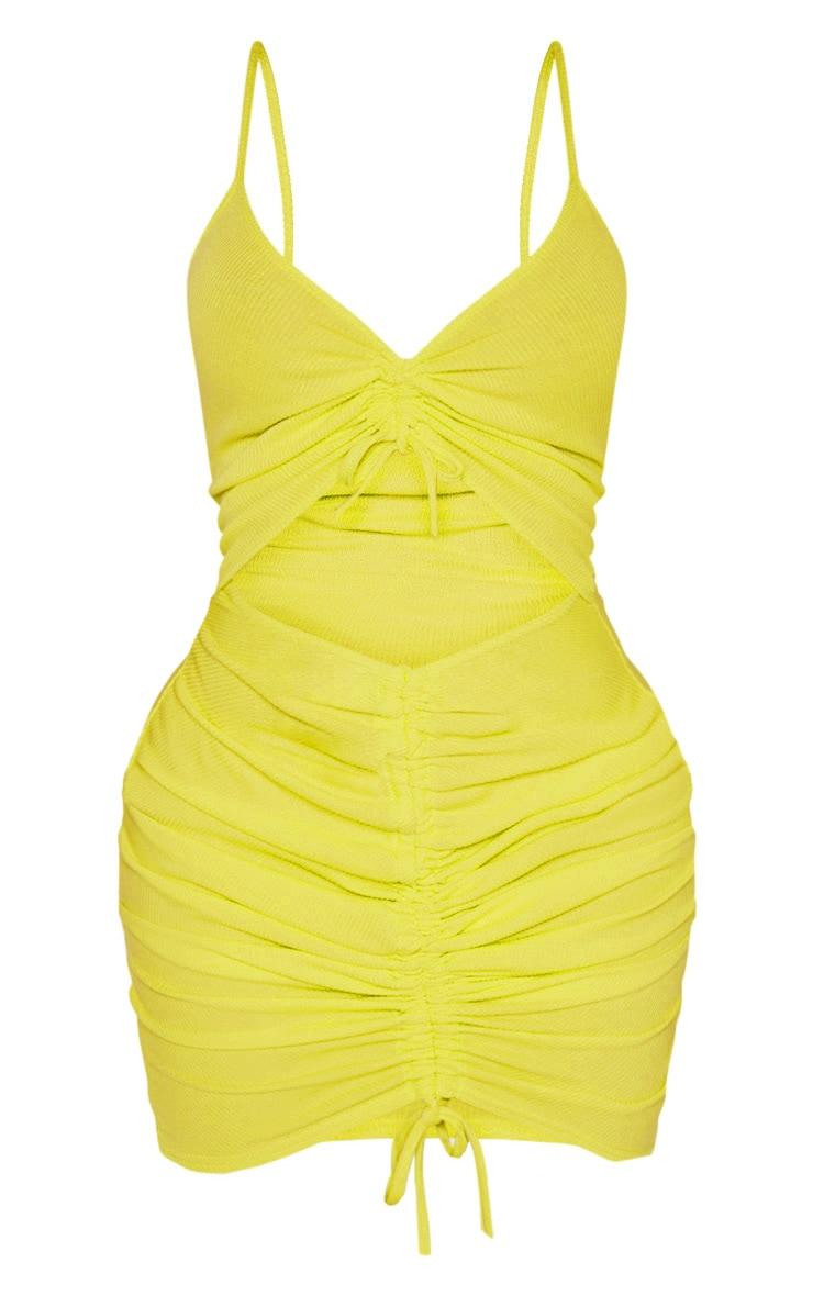 Shape - Robe moulante vert citron fluo à découpe et effet froncé 3