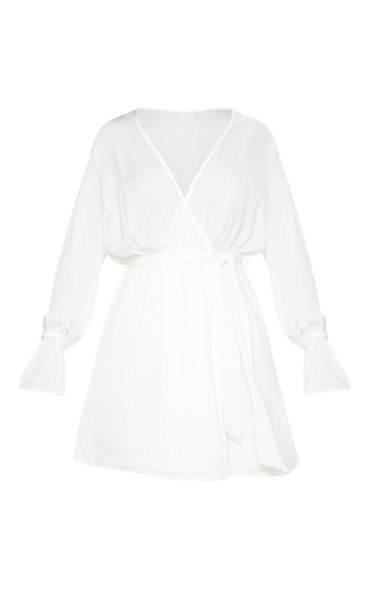 White Satin Wrap Cuff Detail Shift Dress 3