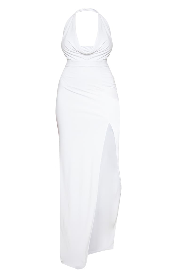 Plus White Extreme Cowl Maxi Dress 3