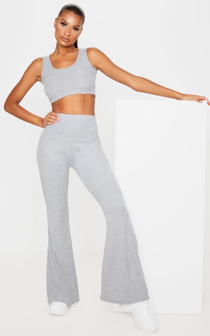 Grey Brushed Rib High Waisted Flared Trouser 1