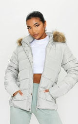 Grey Quilted Mara Faux Fur Hooded Puffer Jacket 1