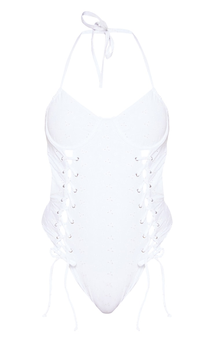 White Lace Up Broderie Underwired Swimsuit 3