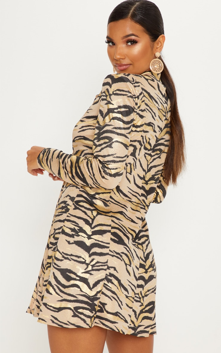 Stone Metallic Tiger Print Blazer Dress 2